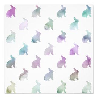 Fundo Pastel roxo azul do coelho da aguarela Convite Quadrado 13.33 X 13.33cm