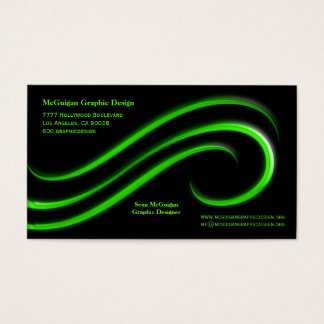 Fundo preto com redemoinhos do chanfro do verde cartão de visitas