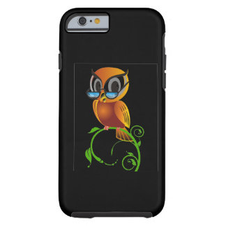 Fundo preto dos vidros sábios de w da coruja capa tough para iPhone 6