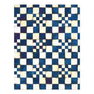 Fundo rachado azul e branco da textura do azulejo papel timbrado