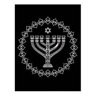 Fundo religioso judaico com Menorah Cartão Postal