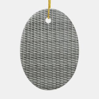 Fundo tecido cinzento do webbing ornamento de cerâmica oval