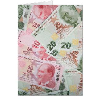 Fundo turco do dinheiro cartões