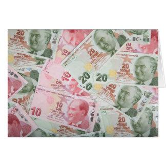 Fundo turco do dinheiro cartão comemorativo