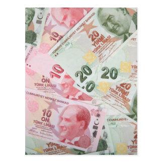 Fundo turco do dinheiro cartão postal