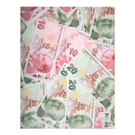 Fundo turco do dinheiro panfletos personalizados