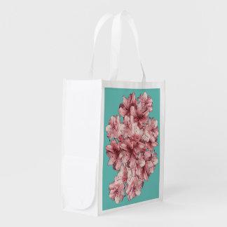 Fundo variável ilustrado rosa da flor sacola reusável