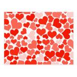 Fundo vermelho dos corações cartão postal