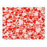 Fundo vermelho dos corações cartões postais