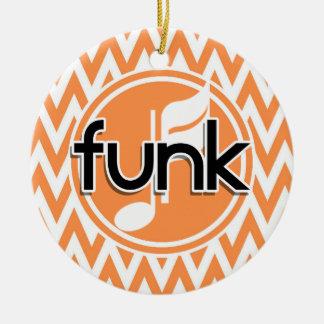 Funk; Chevron alaranjado e branco Ornamento De Cerâmica Redondo