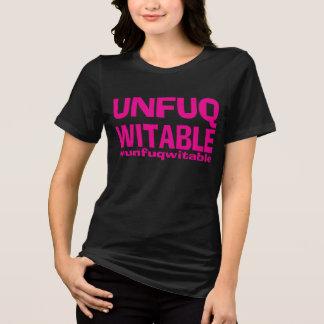 Funk cor-de-rosa Unfuqwitable no T preto dos SS Camiseta