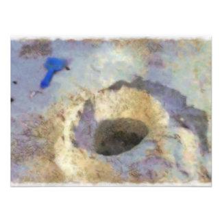 Furo do caranguejo impressão de foto