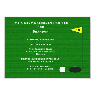 Furo do golfe do despedida de solteiro do golfe convite 12.7 x 17.78cm