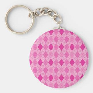 Fuscia Argyle cor-de-rosa Chaveiro