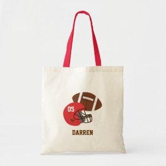 Futebol americano dos miúdos e capacete vermelho bolsa de lona