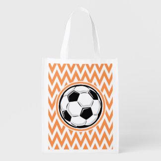 Futebol Chevron alaranjado e branco Sacola Reusável