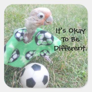 Futebol de Ella é aprovado ser diferente Adesivo Quadrado