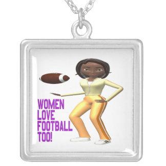 Futebol do amor das mulheres demasiado colar banhado a prata