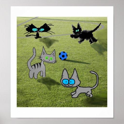 Futebol do jogo de quatro gatos