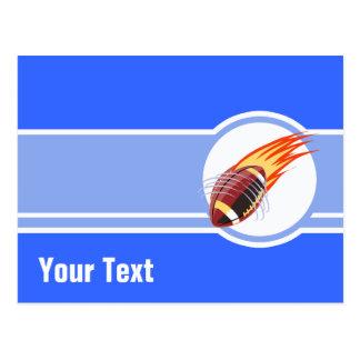 Futebol flamejante Azul Cartao Postal