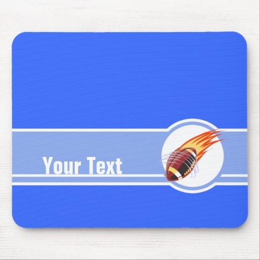 Futebol flamejante; Azul Mouse Pads