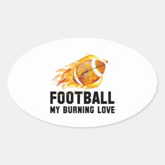 Futebol meu amor ardente adesivo oval