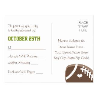 Futebol Monogrammed que Wedding o cartão de RSVP