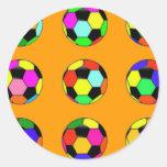 futebol - teste padrão das bolas de futebol adesivo em formato redondo