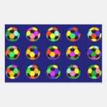 futebol - teste padrão das bolas de futebol adesivo em forma retangular