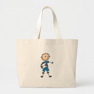 Futebol uniforme azul do menino sacola tote jumbo