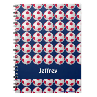 Futebol vermelho, branco, e azul caderno