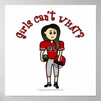 Futebol vermelho claro das meninas poster