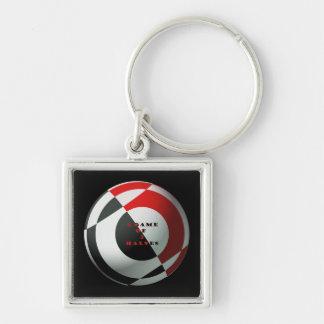 Futebol vermelho e preto chaveiro quadrado na cor prata