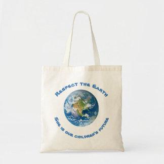 Futuro do respeito da sacola da terra do planeta bolsa tote
