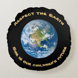 Futuro do respeito do travesseiro redondo da terra almofada redonda