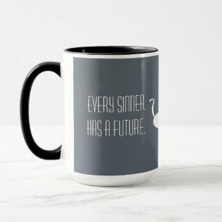Futuro - perto, preto - gato branco, caneca