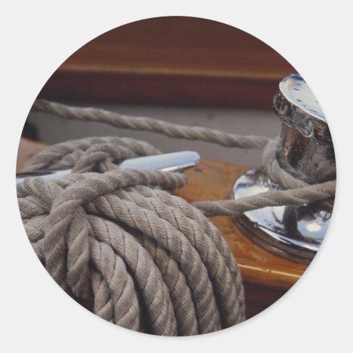 Fuzileiro naval, guincho e linha adesivos em formato redondos
