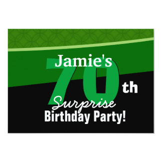 G002 verde e preto do aniversário da surpresa do convite 12.7 x 17.78cm