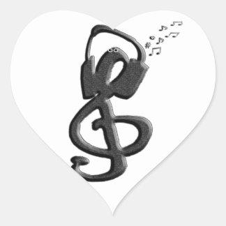 G-clef do símbolo de música com auriculares adesivo coração