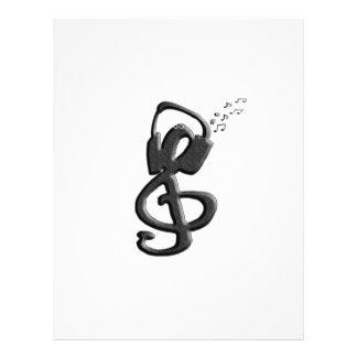 G-clef do símbolo de música com auriculares modelo de papel de carta