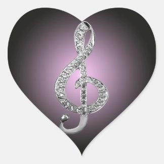 G-clef dos símbolos de música adesivo coração