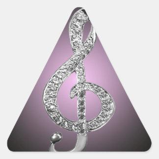 G-clef dos símbolos de música adesivo triangular
