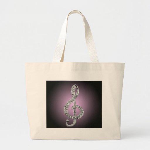 G-clef dos símbolos de música bolsas para compras