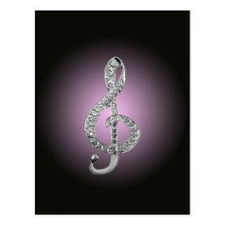 G-clef dos símbolos de música cartão postal