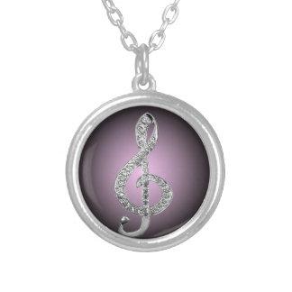 G-clef dos símbolos de música colar com pendente redondo