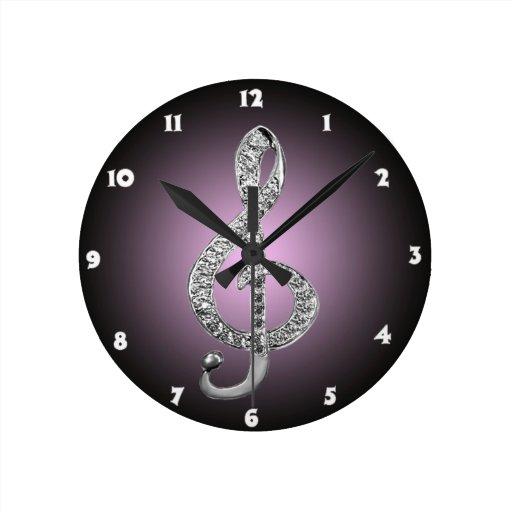 G-clef dos símbolos de música relógios de pendurar