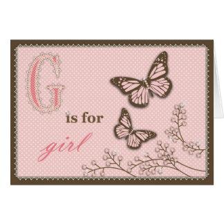 G é para o cartão da menina