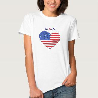 GA camisa da bandeira do coração dos EUA Tshirt