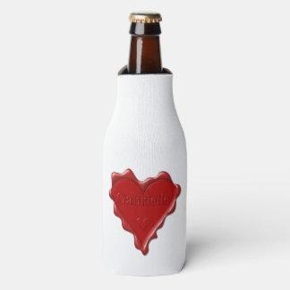 Gabrielle. Selo vermelho da cera do coração com Porta-garrafa