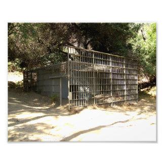 Gaiola abandonada no jardim zoológico velho do LA Foto Arte